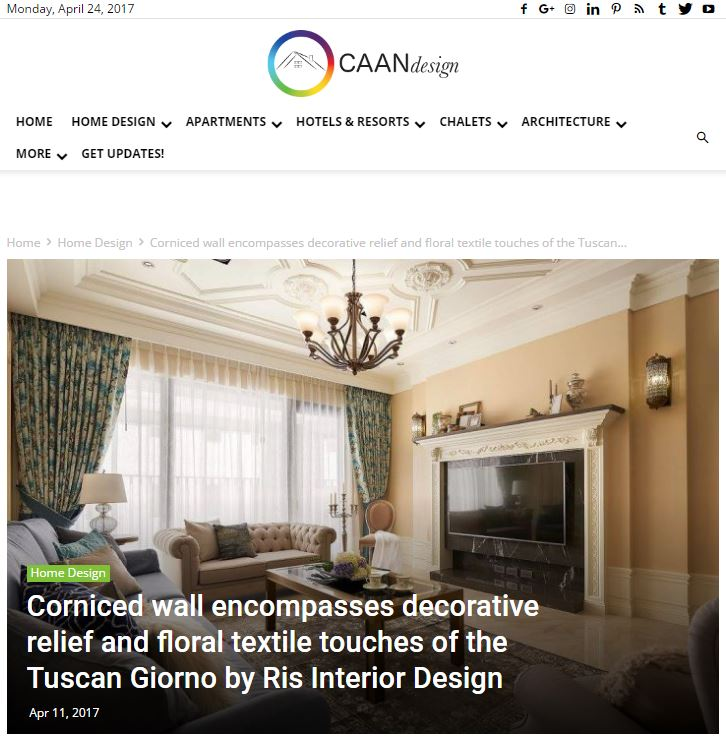Corniced wall encompasses decorative relief and floral textile touches of the Tuscan Giorno by Ris Interior Design